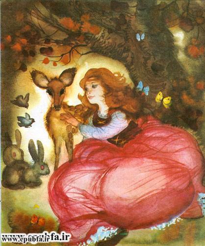 کتاب قصه سفیدبرفی و هفت کوتوله رای کودکان -ایپابفا - دختر زیبا و آهو