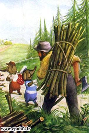 کتاب قصه کودکانه سه بچه فیل - مرد هزیم شکن به آنها چوب داد