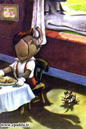 کتاب قصه کودکانه سه بچه فیل - گرگ به لب پنجره بچه فیل می آید