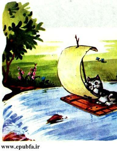 کتاب قصه کودکانه سوفیا و دوستانش - بچه گربه سوار قایق است و به آبشار نزدیک می شود