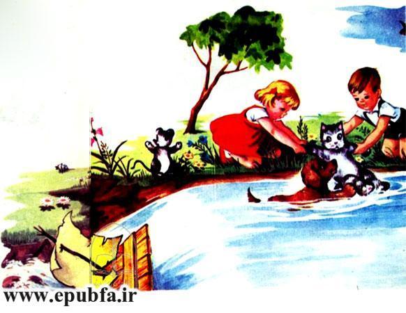 کتاب قصه کودکانه سوفیا و دوستانش - قایق به درون آبشار می افتد و بچه ها گربه را نجات می دهند