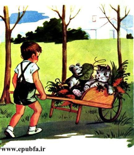 کتاب قصه کودکانه سوفیا و دوستانش - بچه ها سوار گاری دستی می شوند و به سمت خانه می روند