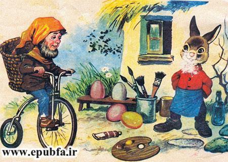 آقا خرگوشه در حال نقاشی بود که پستچی رسید-کتاب قصه کودکانه ماجرای سفر آقا خرگوشه- آرشیو قصه و داستان ایپابفا