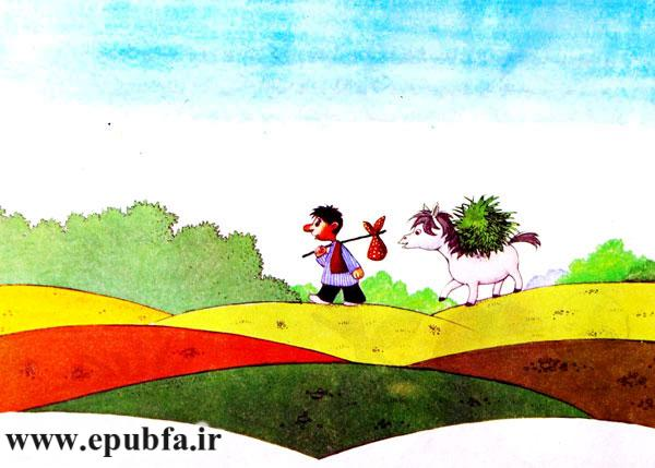 نخودی علف های سبز را بار کره اسب کرده و در صحرا راه می رود - قصه کودکانه ایپابفا