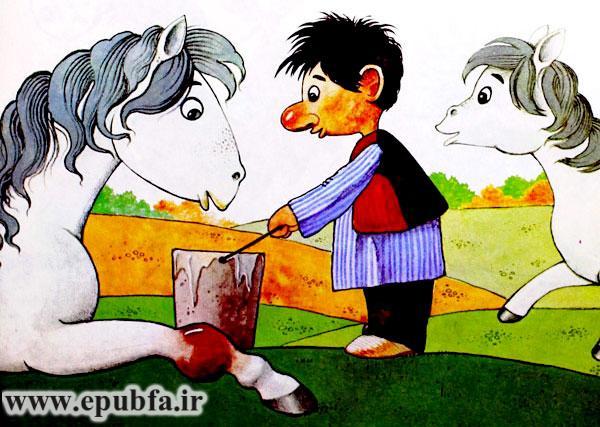 نخودی سطل آب را جلوی اسب آسیب دیده و تشنه می گذارد - قصه کودکانه ایپابفا