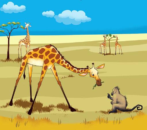 زرافه آفریقایی در حال خوردن علف و صحبت کردن با میمون - قصه کودکانه ایپابفا