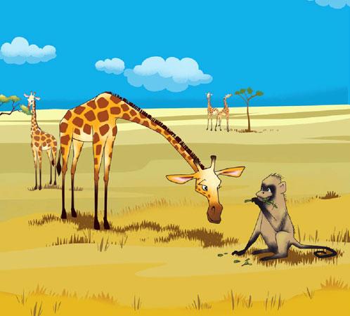 زرافه گردن دراز آفریقایی در حال حرف زدن با میمون گرسنه - قصه کودکانه ایپابفا