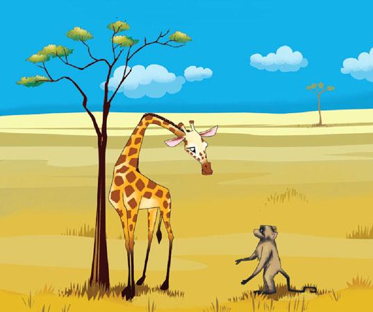 زرافه آفریقایی از میمون می خواهد سوارش شود - قصه کودکانه ایپابفا