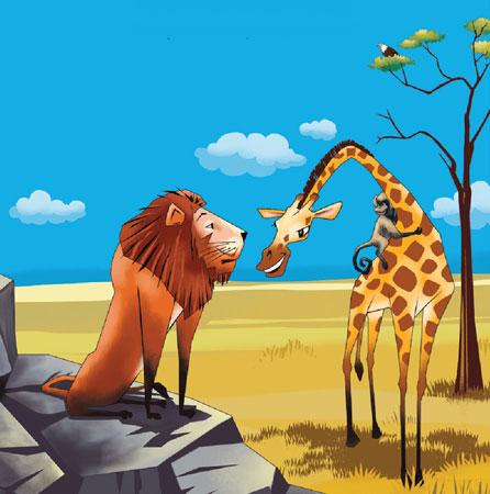 میمون و زرافه با شیر وحشی صحبت می کنند - قصه کودکانه ایپابفا