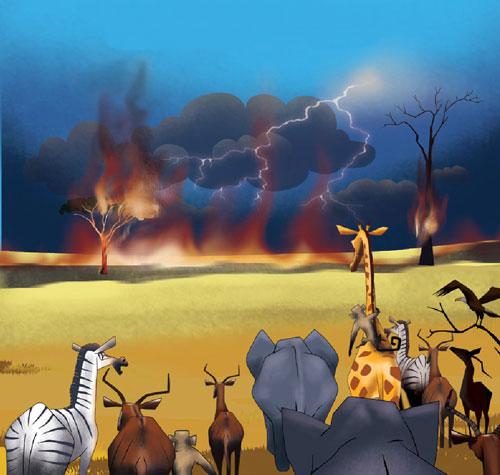 رعدوبرق علفزار را به آتش کشید و راه حیوانات وحشی را بست - قصه کودکانه ایپابفا