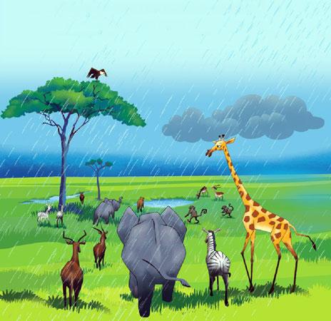 حیوانات علفزار در زیر باران به سمت چاله آب خود کنار یک درخت بلند می روند - قصه کودکانه ایپابفا