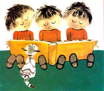 سه بچه کوچولو در حال خواندن یک کتاب قصه درکنار گربه کوچولو -قصه کودکانه ایپابفا