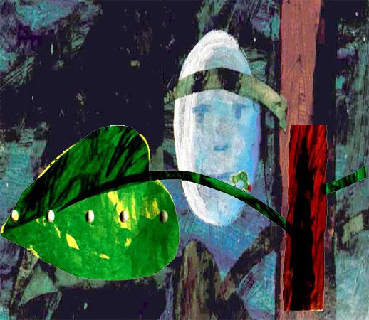 کرم ابریشم خیلی گرسنه روی برگ سبز درخت در زیر نور ماه - قصه کودکانه ایپابفا