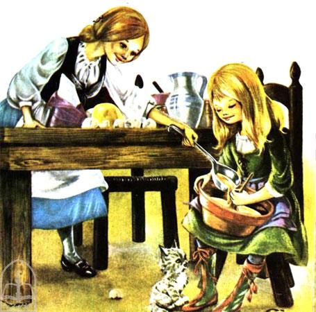دختران در حال مخلوط کردن و درست کردن شیرینی کریسمس  -قصه کودکانه ایپابفا