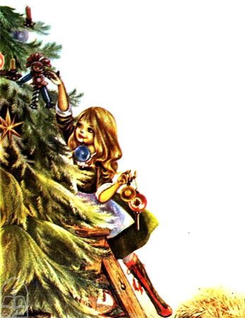 دختری در حال تزیین درخت کاج کریسمس  -قصه کودکانه ایپابفا