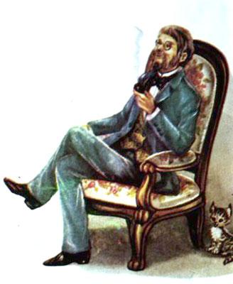 مردی روی صندلی نشسته و پیپ می کشد  -قصه کودکانه ایپابفا