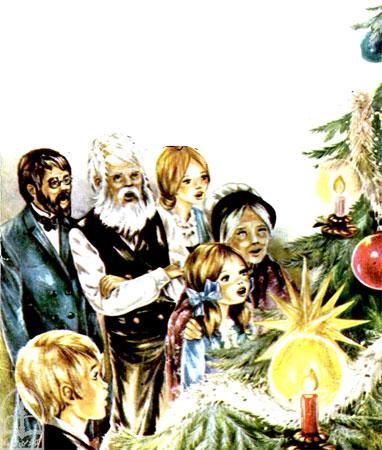 خانواده سوییسی روبروی درخت کریسمس سرود جشن سال نو می خوانند  -قصه کودکانه ایپابفا