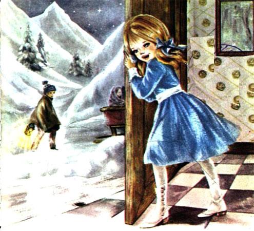 پسری در میان برف ها با فانوس و دختری پشت در  -قصه کودکانه ایپابفا