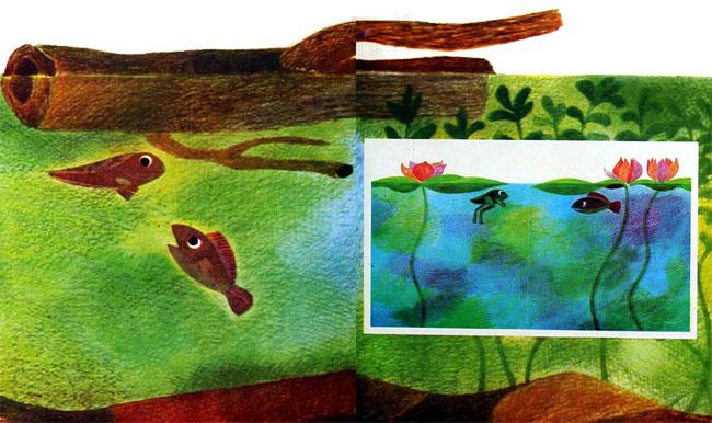 بچه ماهی و بچه قورباغه در حال شنا کردن زیر شاخه شناور درخت روی آب- قصه کودکانه ایپابفا