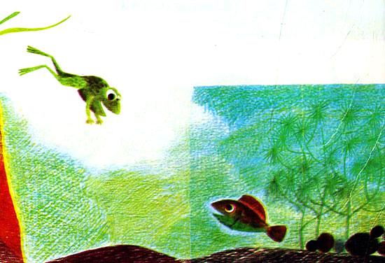 قورباغه به درون برکه آب شیرجه می زند و بچه ماهی او را تماشا می کند- قصه کودکانه ایپابفا