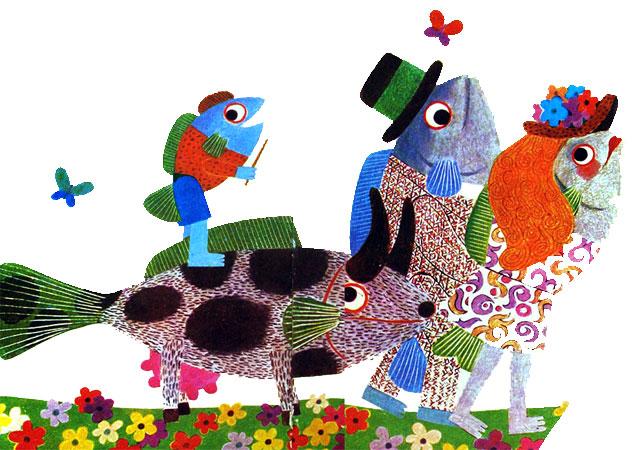 تصور ماهی از آدم ها و گاوها به شکل ماهی هایی با شمایل آنها- قصه کودکانه ایپابفا
