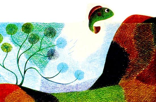 ماهی از میان علف های کف برکه به بیرون از آب می پرد- قصه کودکانه ایپابفا