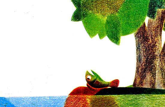 ماهی روی ساحل برکه می افتد و برای هوا تقلا می کند- قصه کودکانه ایپابفا