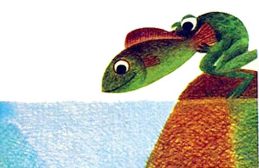بچه قورباغه ماهی را به درون آب برمی گرداند و نجاتش می دهد- قصه کودکانه ایپابفا
