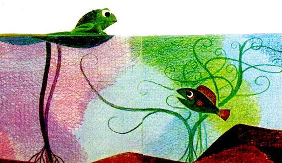 قورباغه روی برگ پهن گل نیلوفر یا زنبق نشسته و با ماهی برکه حرف می زند- قصه کودکانه ایپابفا