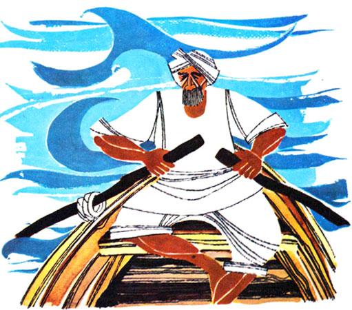 پیرمرد جنوبی با عمامه ای بر سر در حال پارو زدن قایق - قصه کودکانه ایپابفا