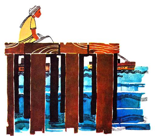 پسر جنوبی غمگین روی اسکله نشسته و به دریا خیره شده  - قصه کودکانه ایپابفا