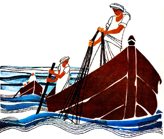 ماهیگیر در حال پرت کردن تور خود به دریا - قصه کودکانه ایپابفا