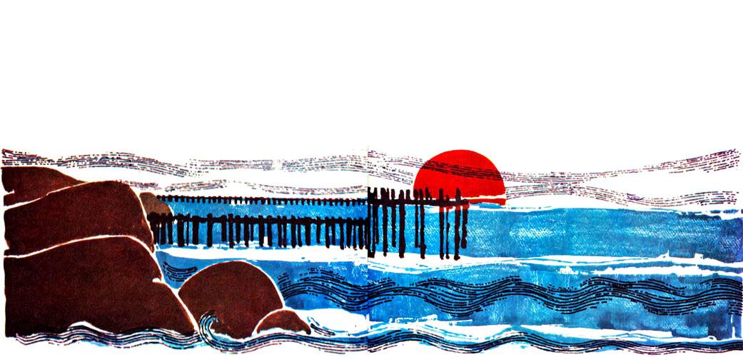 خورشید در حال غروب کردن در افق دریا - قصه کودکانه ایپابفا