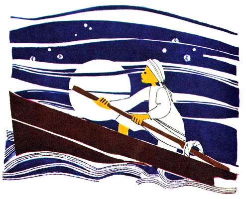 بچه جنوب در حال پارو زدن قایق در دریای طوفانی - قصه کودکانه ایپابفا