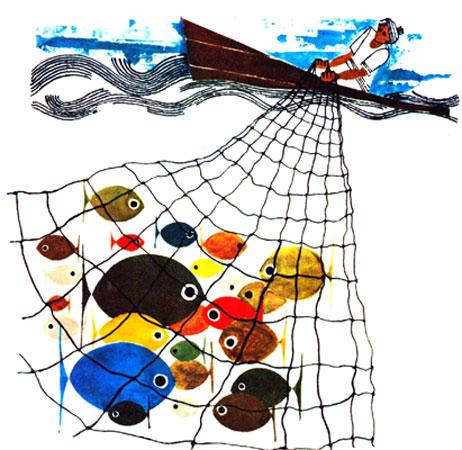 ماهیگیر ماهی های رنگارنگ را در تور خود گرفته بود - قصه کودکانه ایپابفا