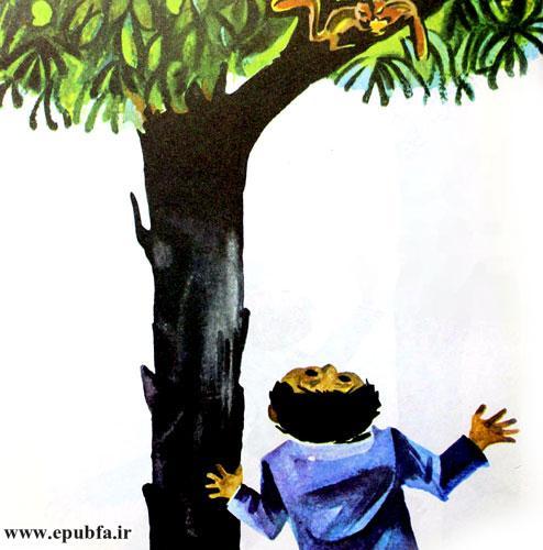 یک روز غروب راوی، سنجابی را دید که با بچهاش روی شاخه درخت انبه نشسته بودند.