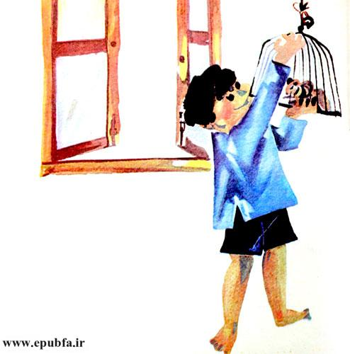 سنجاب را در قفسی گذاشت و به اتاقش برد