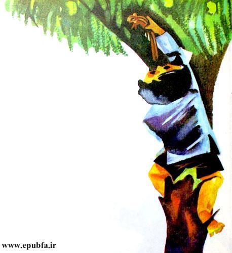 پسرک از درخت بالا رفت و با دقت، سنجاب کوچولو را روی شاخهای گذاشت.