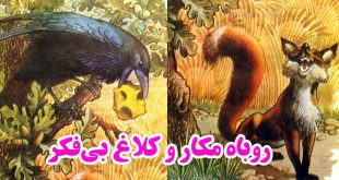 داستان-روباه-مکار-و-کلاغ-بیفکر